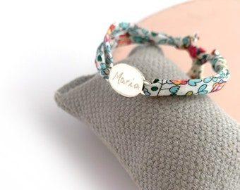 Gift for Mother and Daughter bracelet set/ Sterling silver oval/ Liberty cord/ personalized/ ANNETTE
