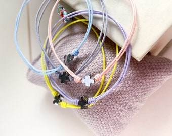 First Communion personalized Favor gift/tiny cross bracelets/ hematite/ color cord/NOAH