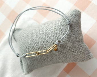 Friendship bracelet/semiprecious stone/Vermeil ovals/ELLIPSE.