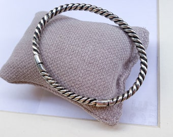 Sterling silver solid twisted cuff bracelet/ unisex/ made in Mexico/ PRISCA