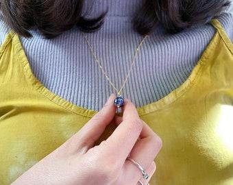 World map bead pendant/Lapis Lazuli/ Vermeil chain necklace.