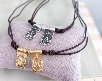 Mount Carmel Scapular necklace/ Gold plated sterling silver/ vermeil/ cord/personalized.