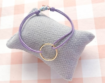 Gift for friend/Hoop Friendship Bracelet/ Sterling silver/ lilac cord/ CIRCULUS.