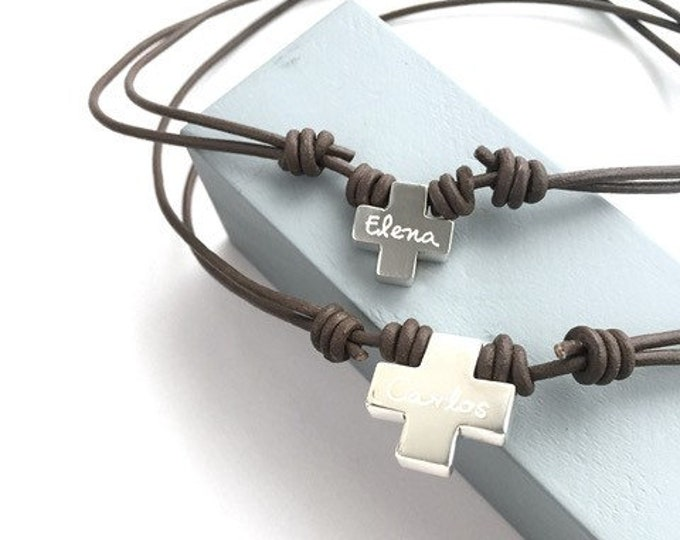 Featured listing image: Square Cross Necklace/ leather/unisex.