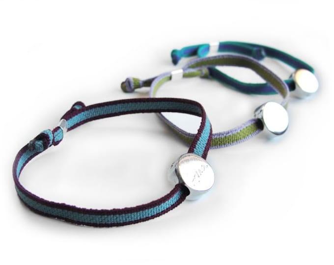 Friendship bracelet/ Sterling silver/ cord/personalized/BORN.