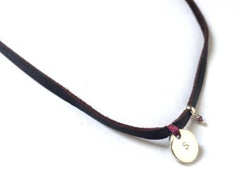 MENINA Leather Choker/ Sterling Silver Disc/personalized.
