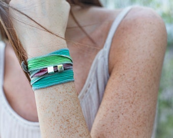 Crinkled silk wrap bracelet/Sterling silver cubes/personalized/SOPHIA.