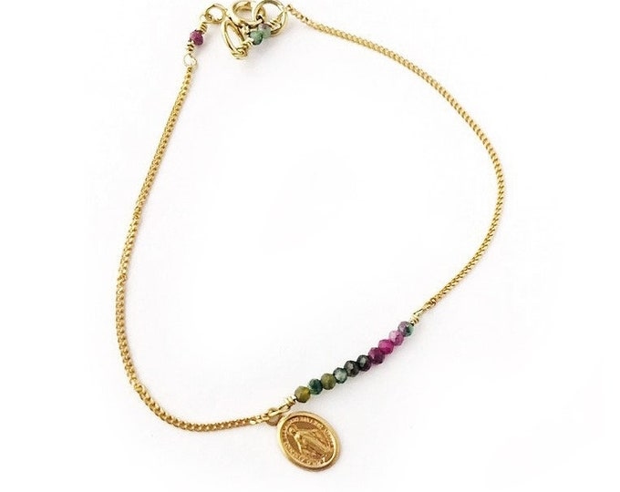 MIRACULOUS medal bracelet with chain and semiprecious stones.