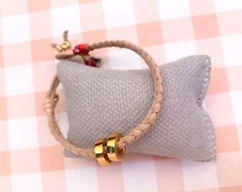 Braided leather bracelet/personalized gold plated Sterling silver circles/RONDANITA