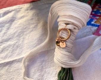 Bouquet charm/personalized/ Vermeil/natural silk ribbon/VALLE