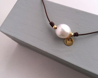 Gift for teacher/Pearl Necklace with cord/ Vermeil/personalized.