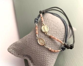Miraculous Medal Bracelet/ Sterling Silver /semi-precious stones/SALVE.