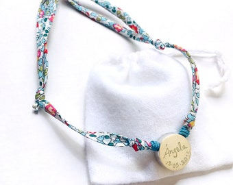 Personalized necklace/ Sterling silver/Liberty flower cord /BORN.