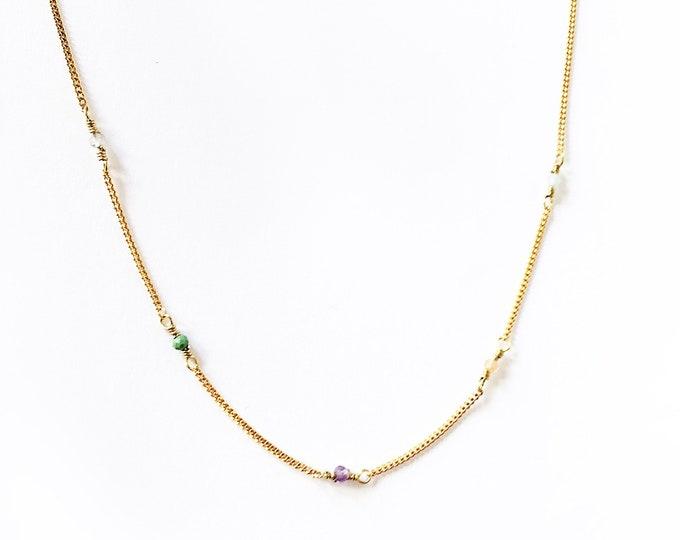 Colla PIEDRITAS/ cadena/ piedras semipreciosas /plata chapada