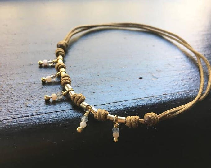 Tobillera AURORA/ Piedras semipreciosas /plata/ goldfilled/cordón