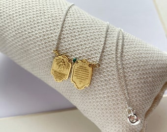 Devotional Two Piece Our Lady of Mount Carmel Sacred Heart Scapular/personalized/ gold plated silver/CARMEL