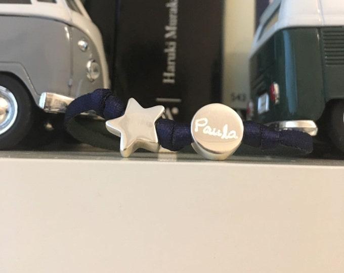 Pulsera Plata Personalizada/cordón elástica/pieza redonda y estrella.