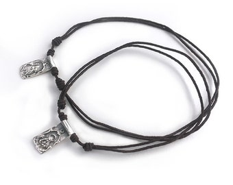 Traditional SCAPULAR for men/ Sterling silver and cord.