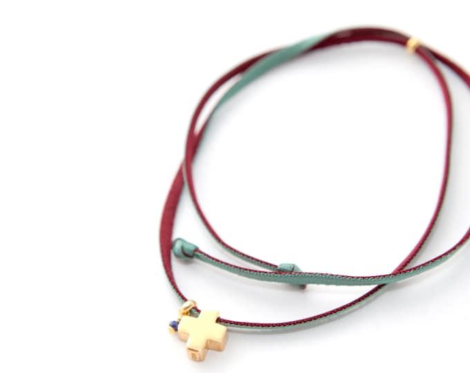 Collar Cruz/ Plata, Plata dorada/Cordón elástico doble vista/Piedra semipreciosa