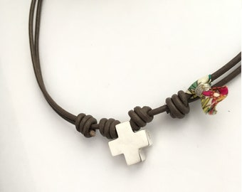First Communion Cross Necklace for girl/ Liberty tassel/ leather cord.