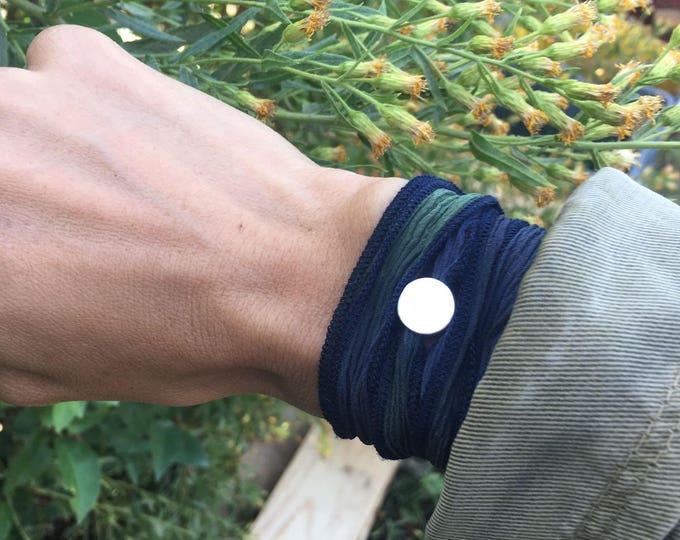 Pulsera Lazo de Seda/azul:verde/comóda.