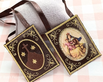 Brown Scapular/ Our Lady of Mount Carmel/ embroidered/home decor.