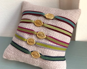 Miraculous medal bracelet / ecofriendly stretch cord/ Vermeil/MADONNINA.