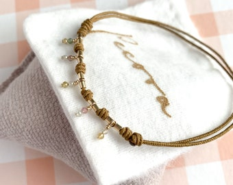 Summer Ankle Bracelet/ tiny semiprecious stones/ goldfill/ AURORA Anklet.