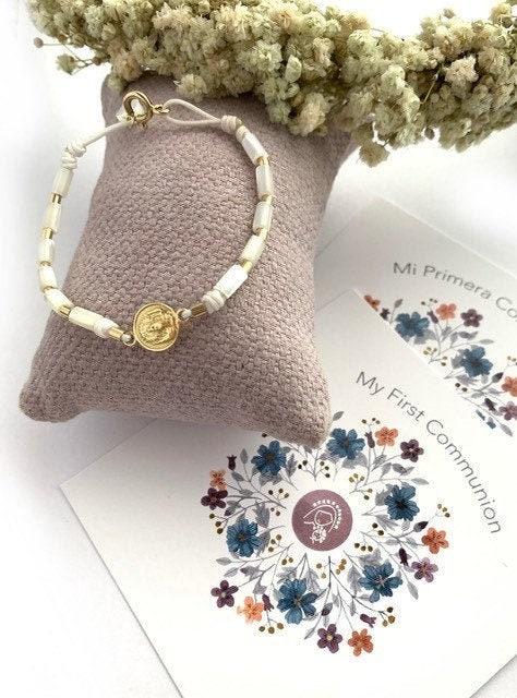 Our Lady of Pilar Medal Bracelet brown cord 18k gold