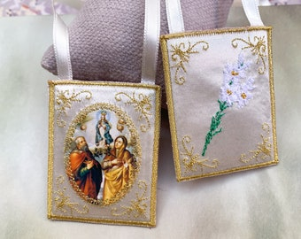 St. Anne and St. Joachim cloth scapular/home decoration.