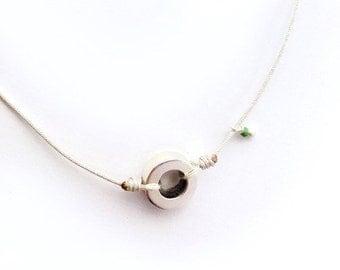 Sterling silver eternity pendant necklace/ silver cord/RONDANITA.