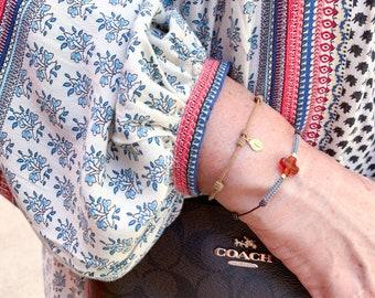 Our Lady of Lourdes Medal Bracelet/ brown cord/ 18k gold