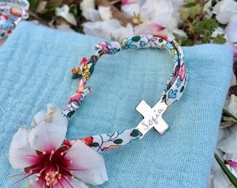 CROSS First Communion Bracelet/ gift for girls/ Liberty ribbon.