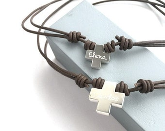Gift for son/gift for daughter/ Square Cross Necklace/ leather.