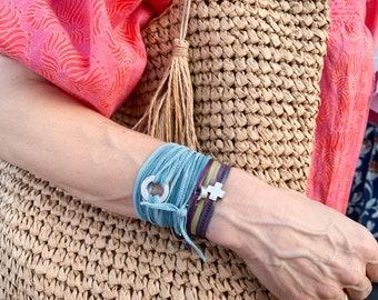 Circle Wrap Bracelet/ silk strand/ Sterling silver/RONDANA SILK