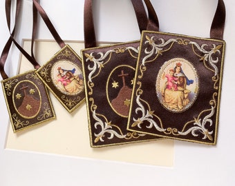 Large Brown Scapular for home/ Our Lady of Mount Carmel/ embroidered