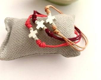 Small Cross bracelet/ Vermeil/ Sterling silver/ gift for girl/HOPE.