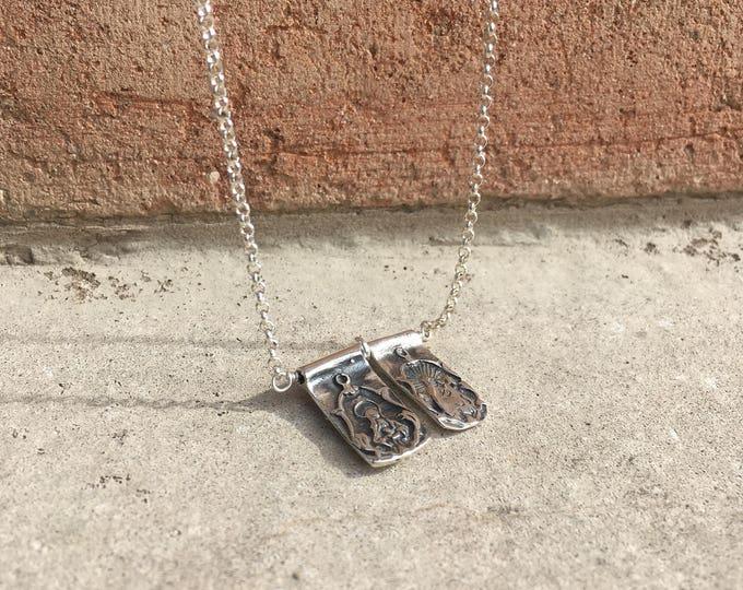 Escapulario de plata Virgen del Carmen/ cadena