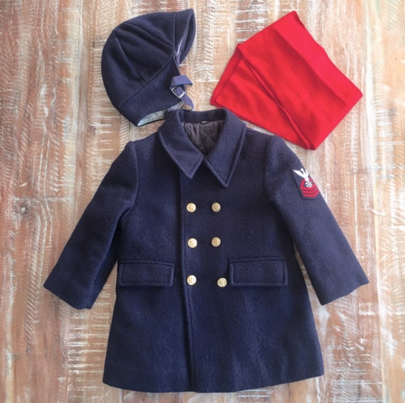 Vintage Fieldston Clothes nautical wool coat, hat