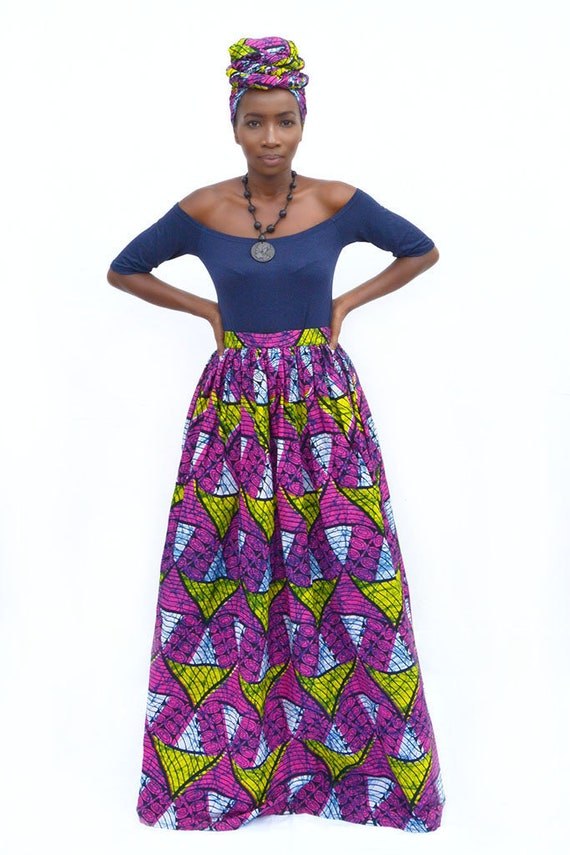 Plus Size African Print Maxi Skirt with Matching Turban, Afrocentric  Clothing, Ankara African Prints Maxi Skirt