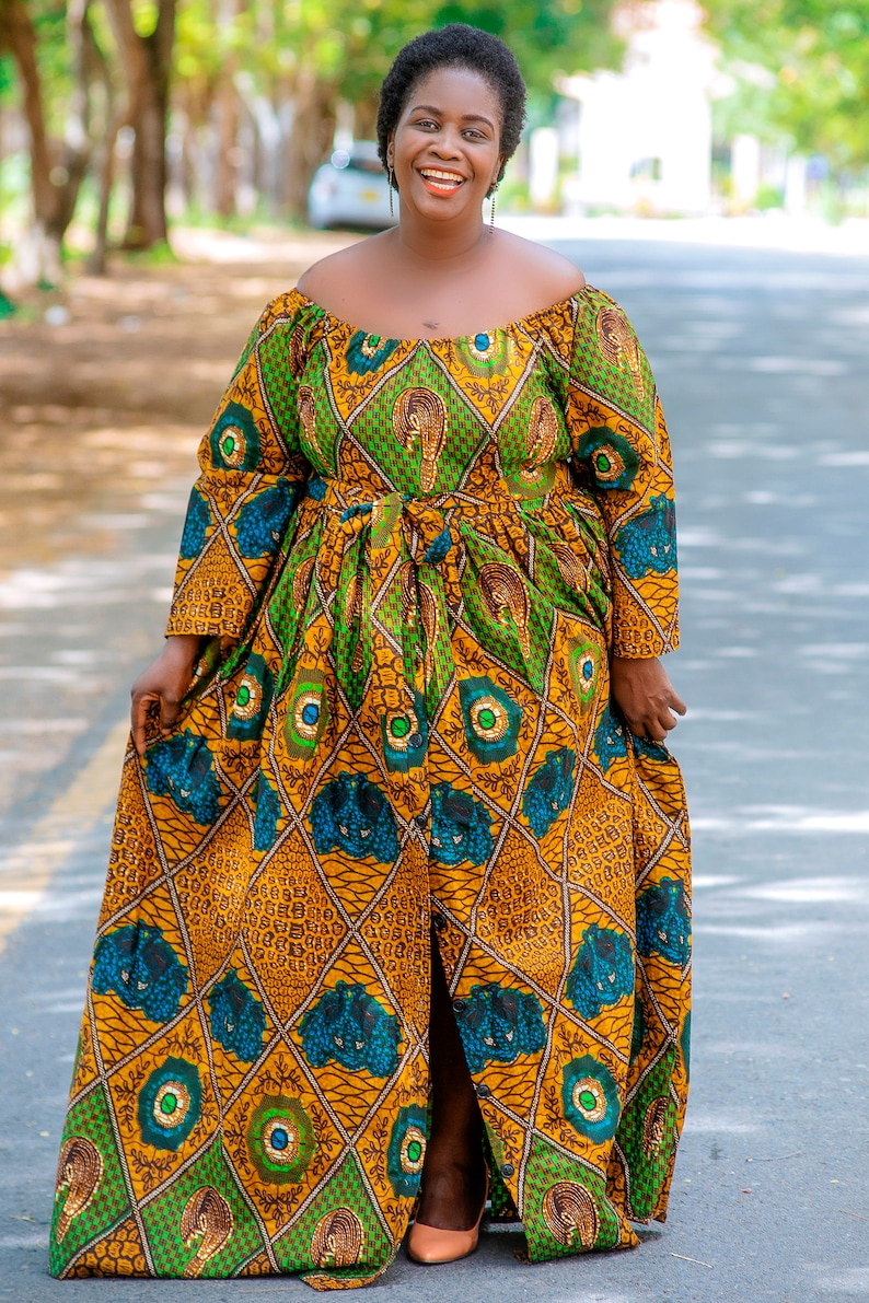 African Print Maxi Dress, Plus Size African Dresses For Women, Ankara  Prints Off Shoulder Maxi Dress, African Cloth, SIZE: XSmall to 5XLarge