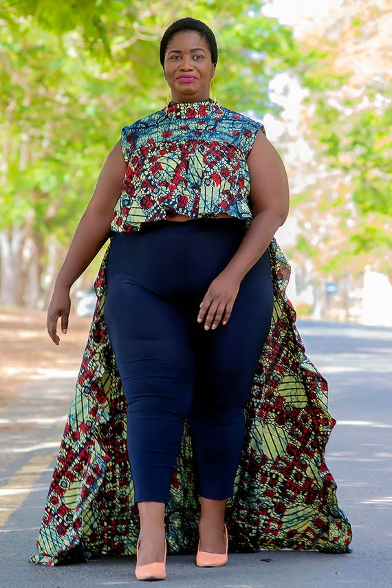 5793635f2f7 Africa Clothing for Women Plus Size Top with Long Cape for