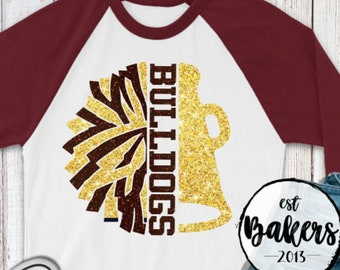 School spirit, Cheer leading shirt, Maroon and Gold  glitter pom pom shirt, Raglan baseball tshirt for cheer, Cheer mom, Glitter shirts