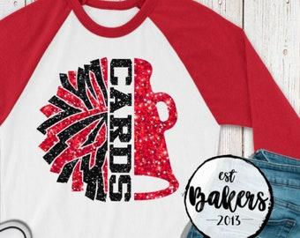 School spirit, Cheer leading shirt, White Red Black glitter pom pom shirt, Raglan baseball tshirt for cheer, Cheer mom, Glitter shirts
