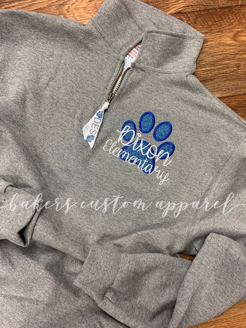 98e2aadc1eb Quarter Zip Pullover Dixon Elementary Onslow Glitter paw | Etsy
