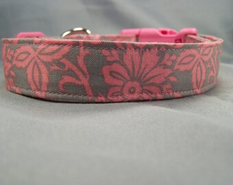 Scrolled Gray and Pink Dog Collar