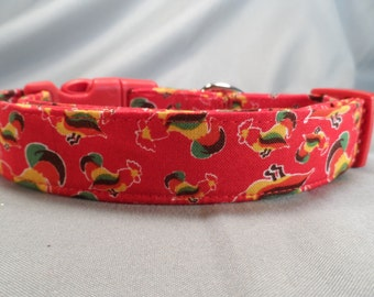 Red Rooster Dog Collar