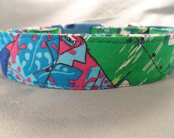Blue Hawaiian Shirt Dog Collar