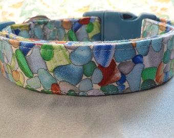 Sea Glass Beach Dog Collar