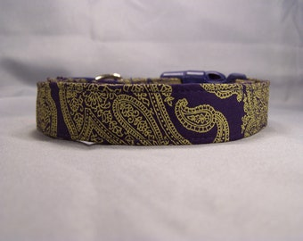 Navy Blue Paisley Dog Collar